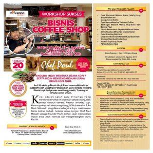 Workshop Sukses Bisnis Coffe Shop, 31 Agustus – 1 September 2019