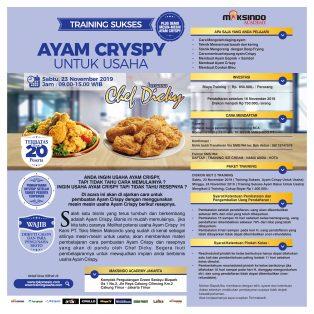 Training Sukses Ayam Crispy Untuk Usaha, Sabtu 23 November 2019