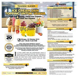 Training Sukses Ice Cream dan Topping Untuk Usaha, Minggu 20 Oktober 2019