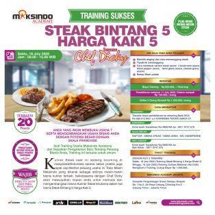 Training Sukses Steak Bintang 5 Harga Kaki 5, Sabtu, 18 July 2020